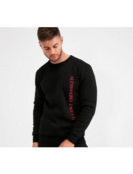 Fausto Embroidered Sweatshirt   Black by Alessandro Zavetti