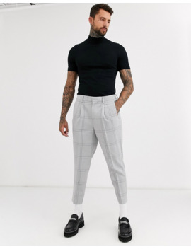 Asos Design Tapered Crop Smart Pants In Oversized Minimal Check With Elasticated Waist In Gray by Asos Design
