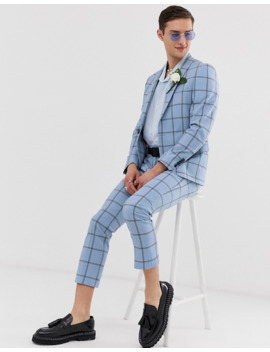 Twisted Tailor Tapered Cropped Suit Pants In Check Seersucker by Twisted Tailor