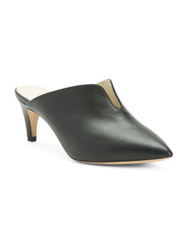 Made In Italy Leather Mules With V Cut Out by Tj Maxx