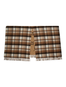 Brown Check Gg Blanket by Gucci