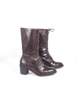 Vtg 90's Size 6 1/2 Women's Brown Leather Boots Lace Up Mid Calf High Heel Boots Riding Stacked Heels Boho Granny Boots Riding Boots by Etsy