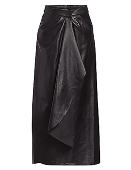 Acclaimed Protagonis Asymmetric Leather Midi A Line Skirt by Johanna Ortiz