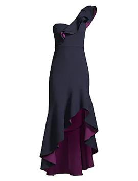 One Shoulder Ruffle High Low Dress by Bcbgmaxazria