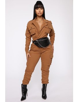 Not Worried About That Cargo Jumpsuit   Dark Khaki by Fashion Nova