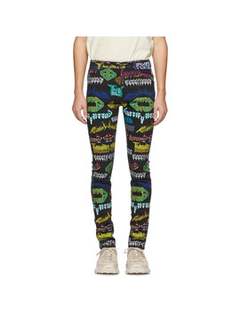 Multicolor All Over Skinny Jeans by Gucci
