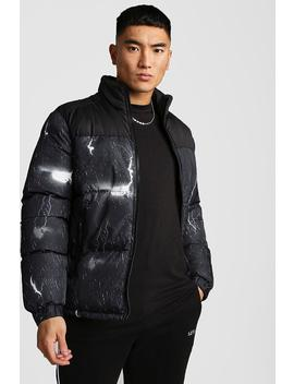 Lightning Print Puffer Jacket by Boohoo