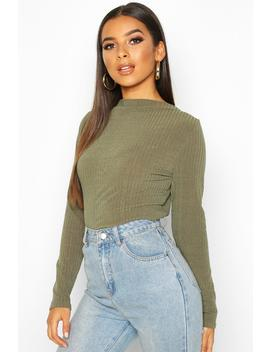Ribbed Crew Neck Long Sleeve Top by Boohoo