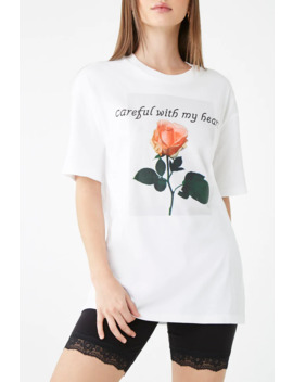 Careful With My Heart Rose Graphic Tee by Forever 21
