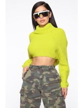 This Is My Time Turtleneck Sweater   Lime by Fashion Nova