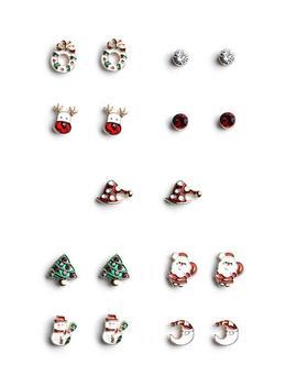 Christmas Stud Earrings 9 Pk by Primark