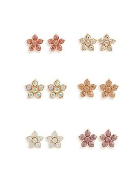 6 Pack Flower Stud Earrings by Primark