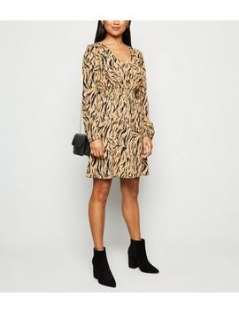 Petite Brown Tiger Print Button Front Dress by New Look