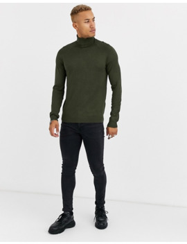 Pull&Bear Turtleneck Sweater In Khaki by Pull&Bear