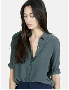 Everlane Women's Silk Round Collar In Marine Size Small by Everlane
