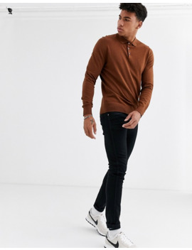 Burton Menswear Knitted Long Sleeve Polo In Brown by Burton Menswear London