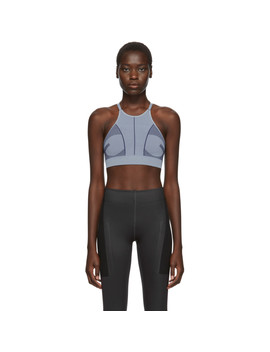 Blue Prime Knit Sport Bra by Adidas By Stella Mccartney