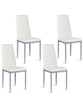 Costway Set Of 4 Pu Leather Dining Side Chairs Elegant Design Home Furniture White by Costway