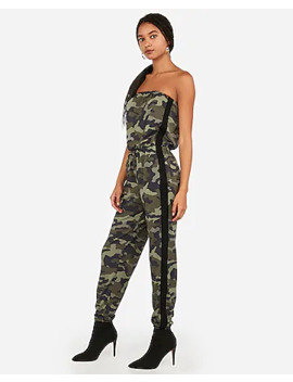Camo Strapless Sporty Striped Jumpsuit by Express
