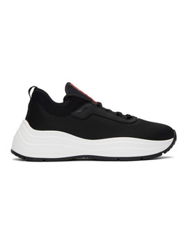 Black Knit Prax 01 Sneakers by Prada