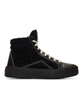 Black Suede Leather V1 Hi Sneakers by Rhude