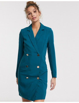 Paper Dolls Gold Button Blazer Mini Dress In Teal by Paper Dolls