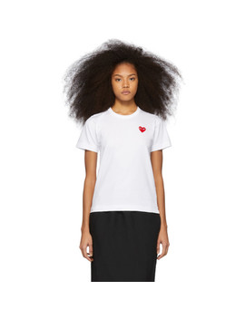 White & Red Heart Patch T Shirt by Comme Des GarÇons Play