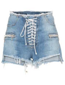 Lace Up Denim Shorts by Unravel Project