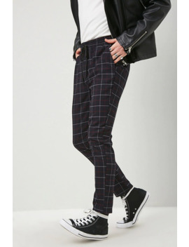 Grid Print Slim Fit Pants by Forever 21