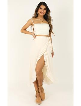 Come Find Me Skirt In White Linen Look by Showpo Fashion