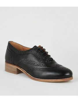 Black Leather Lace Up Brogues by New Look