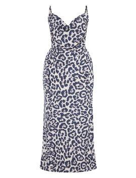 Plus Grey Leopard Print Cowl Maxi Dress  by Prettylittlething
