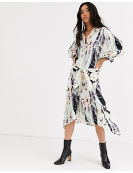 &Amp; Other Stories Marble Print Hanky Hem Dress In Multi by & Other Stories