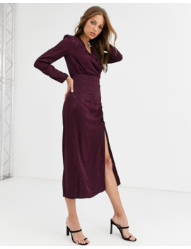 Warehouse Wrap Dress In Berry by Warehouse