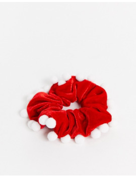 Asos Design Christmas Scrunchie In Velvet With Pom Detail In Red by Asos Design