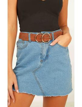 Midnight Charm Belt In Tan And Gold Croc by Showpo Fashion