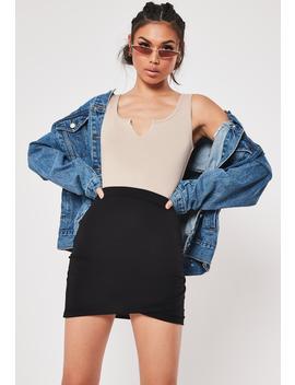 Black Jersey Wrap Hem Mini Skirt by Missguided