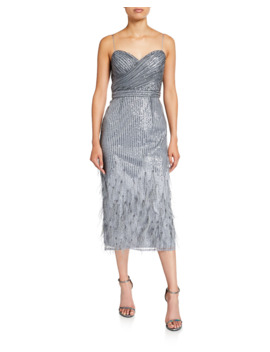 Sequin & Feather Sweetheart Midi Cocktail Dress With Spaghetti Straps by Aidan Mattox