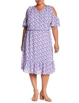 Cold Shoulder Floral Midi Dress (Plus Size) by Michael Kors