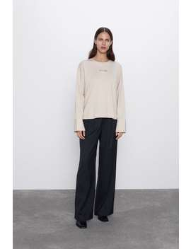 T Shirt With Contrast Sleeves by Zara