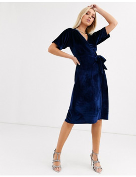 Boohoo Velvet Wrap Midi Dress With Tie Waist In Navy by Boohoo