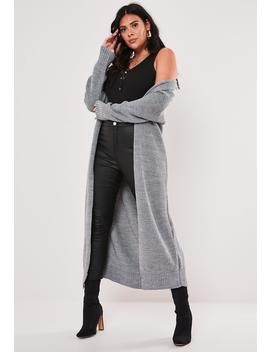 Plus Size Gray Belted Maxi Cardigan by Missguided