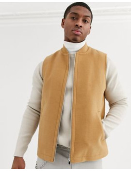 Asos Design Wool Mix Vest In Camel by Asos Design