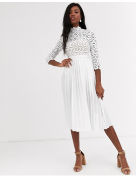 Little Mistress Tall Midi Length 3/4 Sleeve Lace Dress In White by Little Mistress'