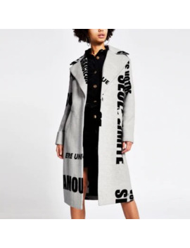 Grey Slogan Printed Longline Coat by River Island