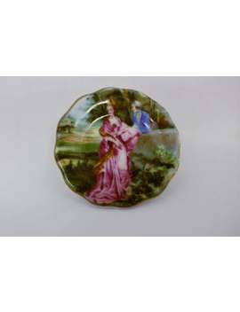 "Miniature Coalport Brooch, Vintage Tiny Plate Decorated With A 18th Century Scene, ""Coalport China"" Made In England"" 1.5 Inches by Etsy"