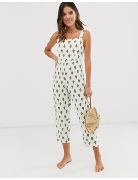 Zulu And Zephyr Square Neck Linen Beach Jumpsuit In Palm Print by Zulu & Zephyr