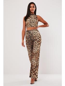 Brown Leopard Print High Neck Top And Pants Co Ord Set by Missguided