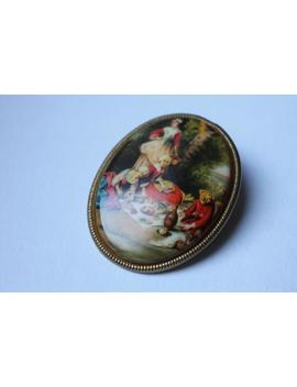 Vintage Scarf Clip With Picnic Scene by Etsy