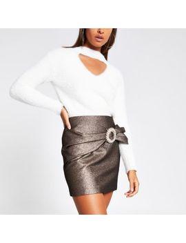 Bronze Wrap Diamante Buckle Mini Skirt by River Island